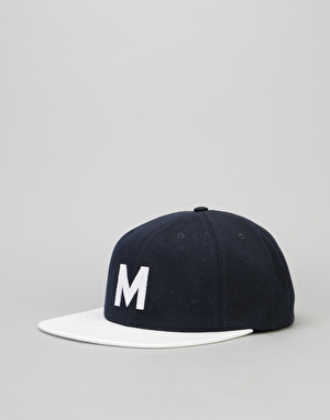 Magenta M Cotton 6 Panel Cap - Navy/White