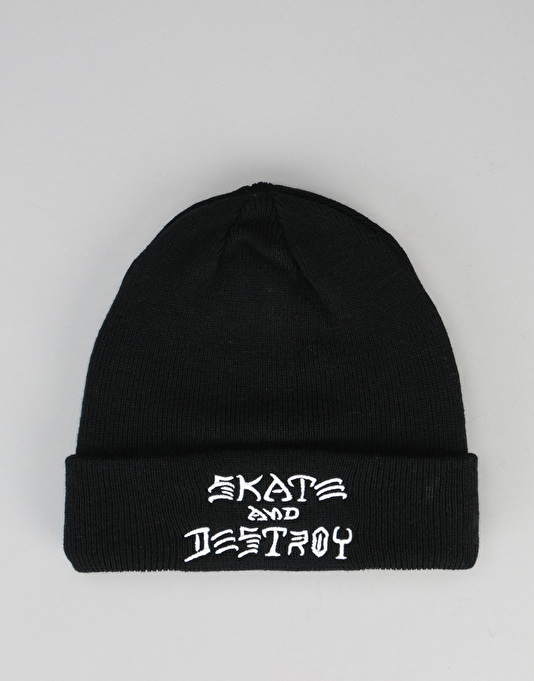 Thrasher Skate & Destroy Embroidered Beanie - Black