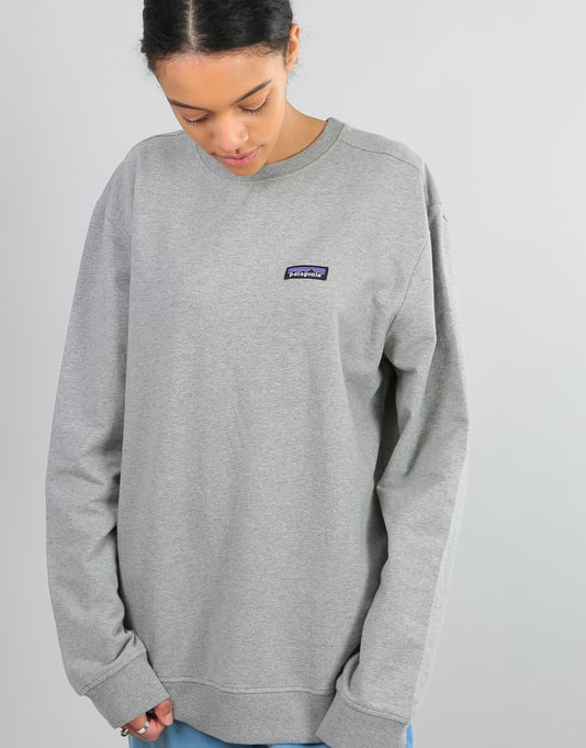 Patagonia Womens P-6 Label Oversized Sweatshirt - Feather Grey ... 94bf70149