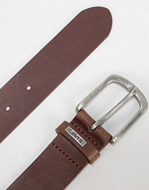 Levis Lev 8 Leather Belt - Medium Brown