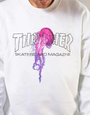 Thrasher x Atlantic Drift Crew - White