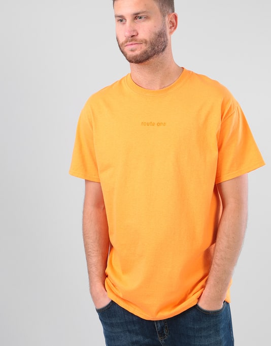 Route One Embroidered Logo T-Shirt - Tangerine