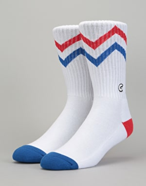 Chrystie C Logo Zigzag Socks - Blue/Red