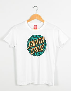 Santa Cruz Check Waste Dot Boys T-Shirt - White