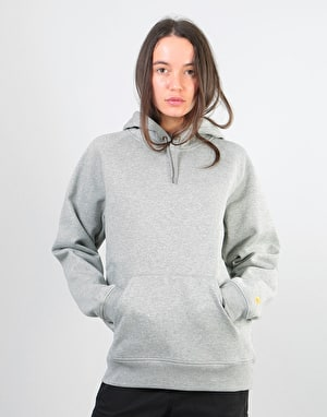Carhartt Womens Hooded Chase Oversized Sweatshirt - Grey Heather/Gold