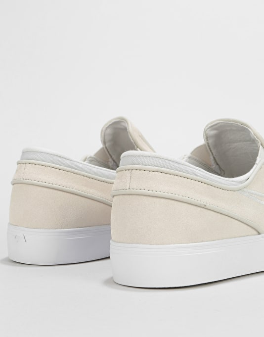 Nike SB Zoom Stefan Janoski Slip On Skate Shoes - White/Light Bone