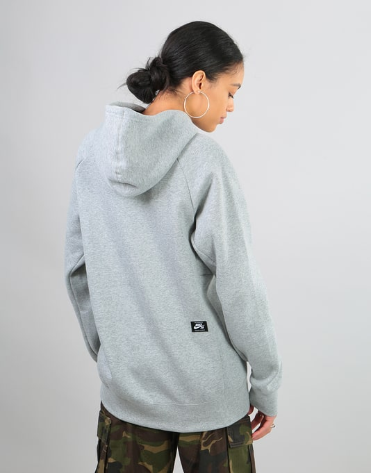 Nike SB Womens Icon Oversized Hoodie - Dk Grey Heather/White
