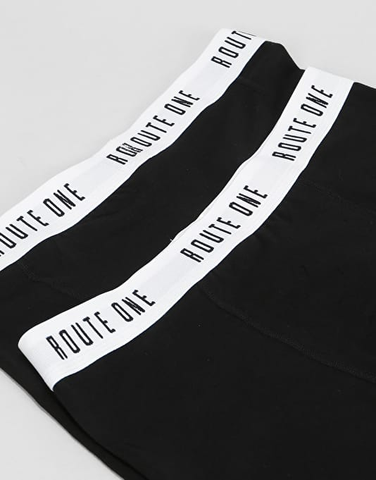 Route One Classic Boxer Shorts 2 Pack - Black