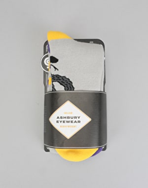 Stinky x Ashbury HW 2018 Snowboard Socks - Grey/Yellow