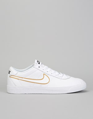 Nike SB Zoom Bruin Premium SE Skate Shoes - White/Wht-Met. Gold-Black