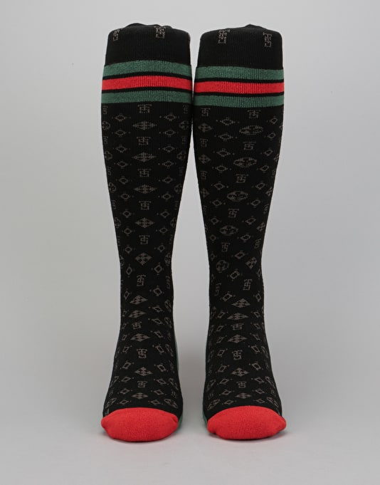 Stinky Louis HW 2018 Snowboard Socks - Black/Green/Red