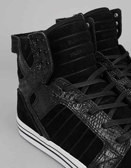 Supra Skytop Skate Shoes - Black/Croc-White