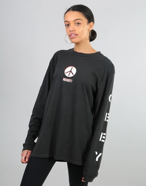 Obey Womens Resist! Pigment Dyed L/S T-Shirt - Dusty Black