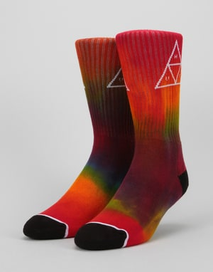 HUF Tiedye Triple Triangle Crew Socks - Rainbow