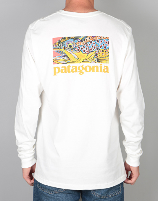 Patagonia L/S Eye of Brown World Trout T-Shirt - White