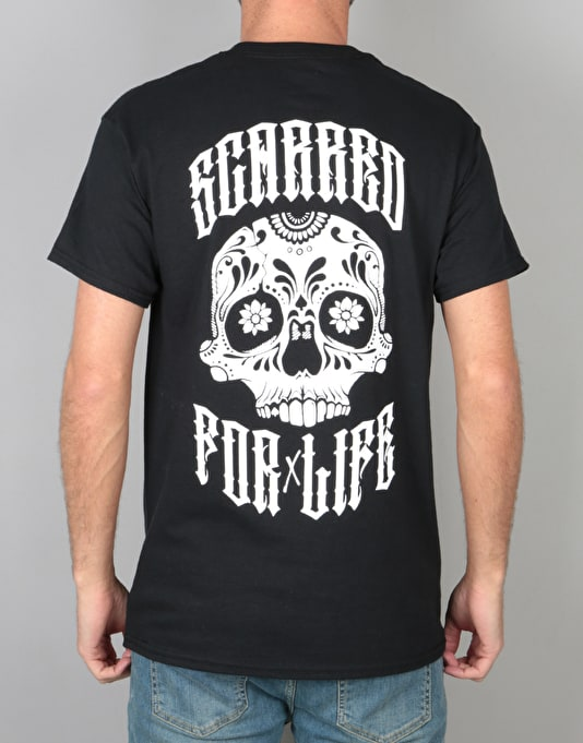 Scarred For Life Day Of The Dead T-Shirt - Black