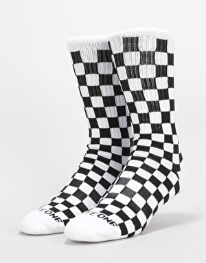 Route One Checkerboard Crew Socks - Black/White