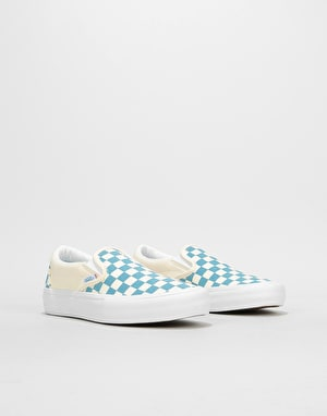 Vans Slip-On Pro Womens Trainers - (Checkerboard) Adriatic Blue/White