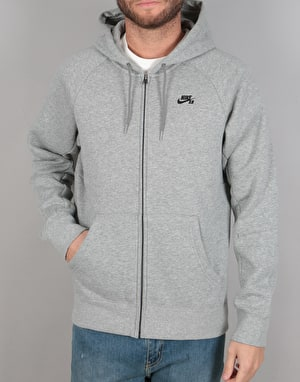 Nike SB Icon FZ Hoodie - Dk Grey Heather/Black