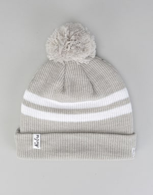New Era Ribbed Stripe Bobble Beanie - Grey