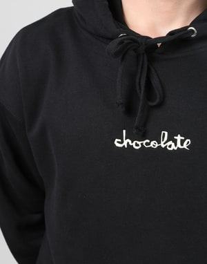 Chocolate Embroidered Mid Chunk Pullover Hoodie - Black