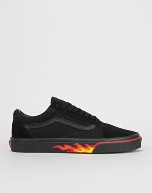 Vans Old Skool Skate Shoes - (Flame Wall) Black/Black