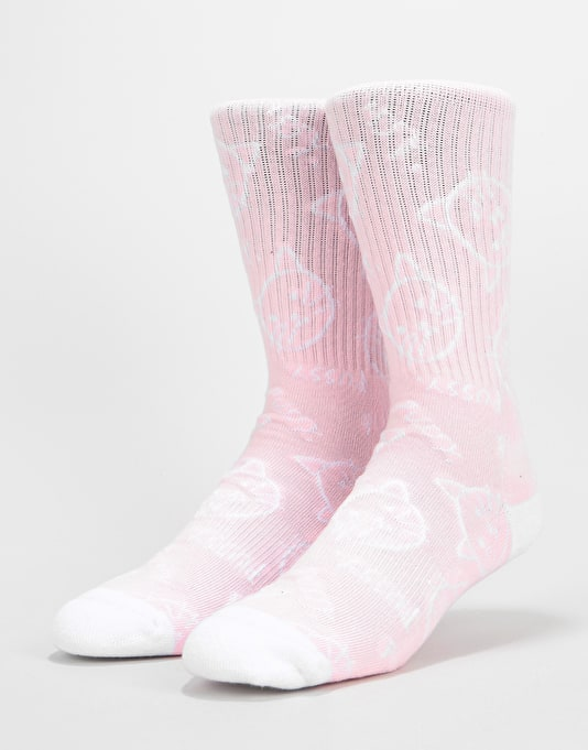 Route One Allover Pussy Crew Socks - Pink/White
