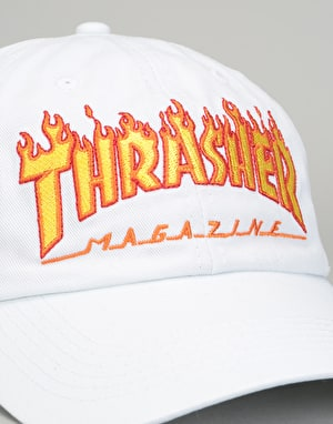 Thrasher Flame Old Timer Cap - White
