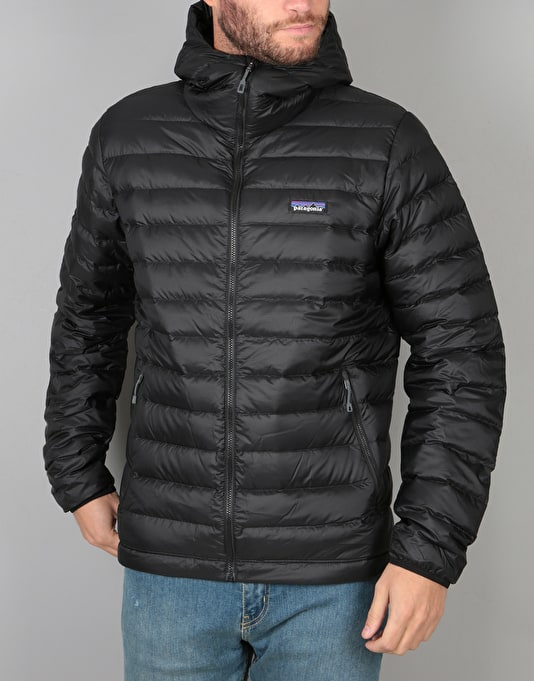 Patagonia down sweater hoody jacket black casual for Patagonia men s recycled down shirt jacket
