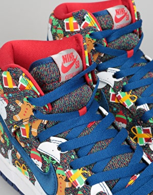 Nike SB Concepts Dunk High Ugly Sweater Skate Shoes - Blue Ribbon/Red
