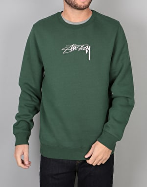 Stüssy Smooth Stock Applique Crew - Dark Forest