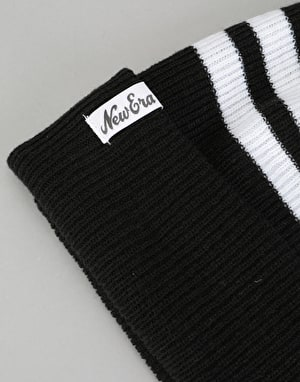 New Era Ribbed Stripe Bobble Beanie - Black
