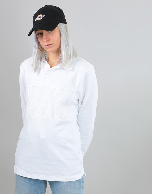 Nike SB Womens Dri-Fit Oversized Rugby Shirt - White/White