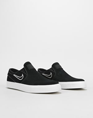 Nike SB Zoom Stefan Janoski Slip On Skate Shoes - Black/Light Bone