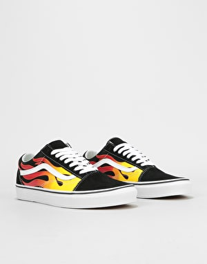 Vans Old Skool Skate Shoes - (Flame) Black/Black/True White