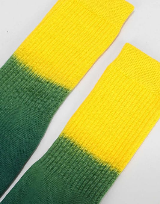 Route One Tie Dye Crew Socks - Yellow/Green