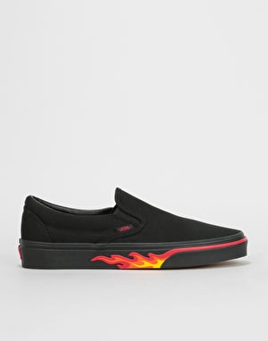 Vans Classic Slip-On Skate Shoes - (Flame Wall) Black/Black