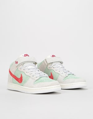 Nike SB 'White Widow' Dunk Mid Pro QS Skate Shoes - Sail/Gym Red/Mint