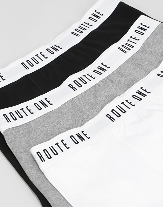 Route One Classic Boxer Shorts 3 Pack - White /Black/Heather Grey