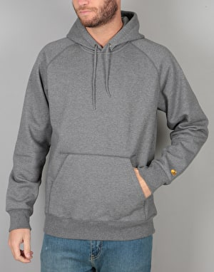 Carhartt Hooded Chase Sweatshirt - Dark Grey Heather/Gold