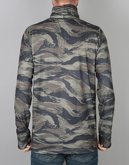 Burton Midweight Long Neck Thermal Top - Olive Green Worn Tiger