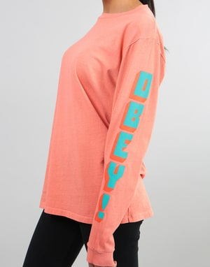 Obey Womens New World 2 Pigment Dyed L/S T-Shirt - Dusty Coral
