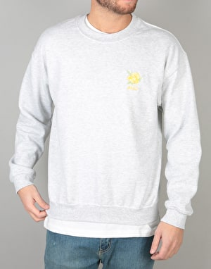 WKND Flower Embroidered Crew -  Heather