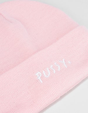 Route One Pussy Text Beanie - Light Pink