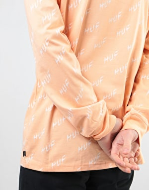 HUF Bolt All Over L/S T-Shirt - Peach