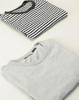 Levi's Skateboarding 2 Pack T-Shirt - Heather Grey / Black & White