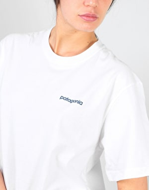 Patagonia Womens Line Logo Badge Oversized T-Shirt - White/Dolomite