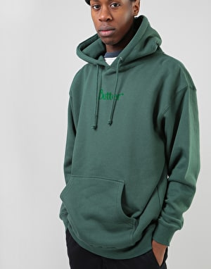 Butter Goods Flock Print Classic Logo Pullover Hoodie - Forest Green