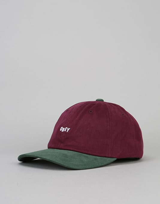 Obey 90's Jumble Bar 6 Panel Snapback Cap - Eggplant/Forest
