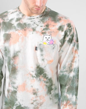 RIPNDIP Flowers For Bae L/S T-Shirt - Green/Pink Acid Tie Dye Wash